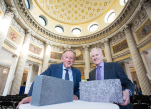 Tom Parlon, Director General of the Construction Industry Federation and Larry Byrne, Managing Director of Roadstone Ltd pictured at the launch of Roadstone's Thermal Liteblock System