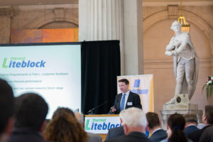 Alan Lowe, Product Development Manager, Roadstone Ltd pictured at the launch of Roadstone's Thermal Liteblock System